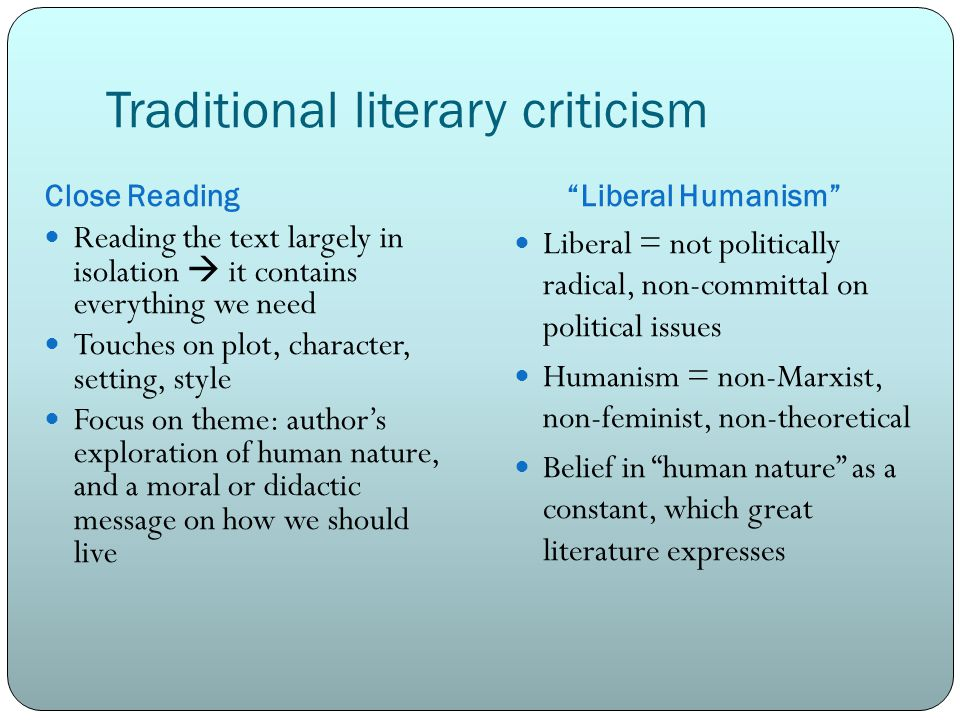 Traditional literary criticism