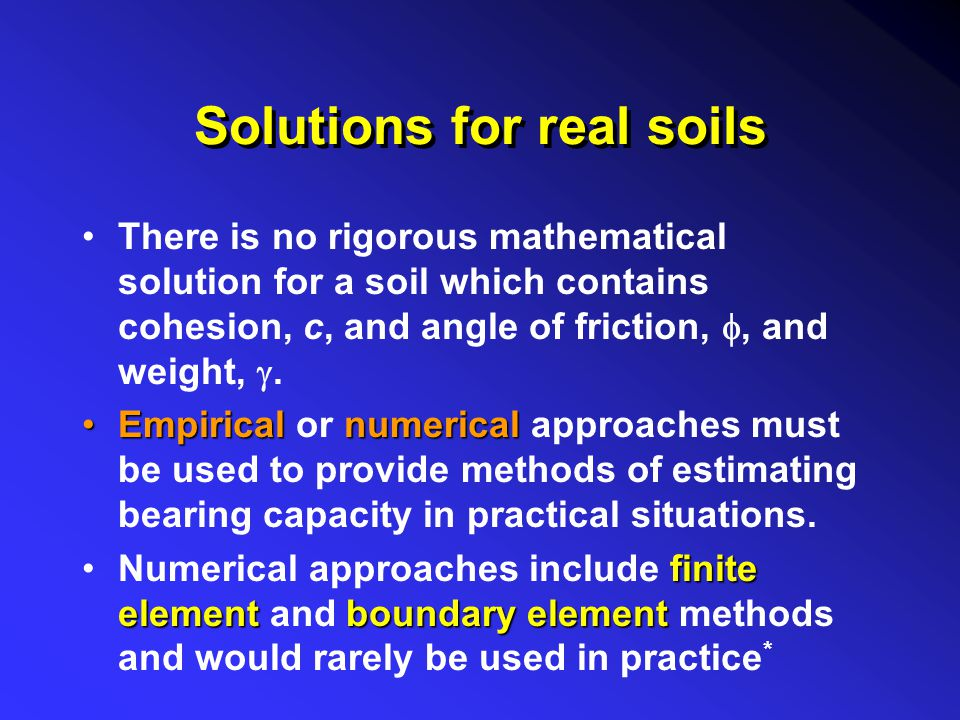 Solutions for real soils