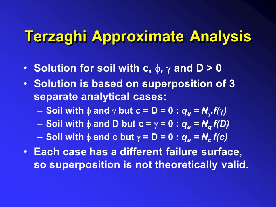 Terzaghi Approximate Analysis