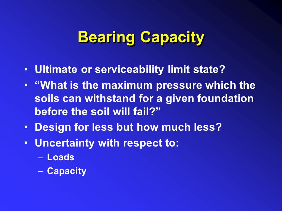 Bearing Capacity Ultimate or serviceability limit state