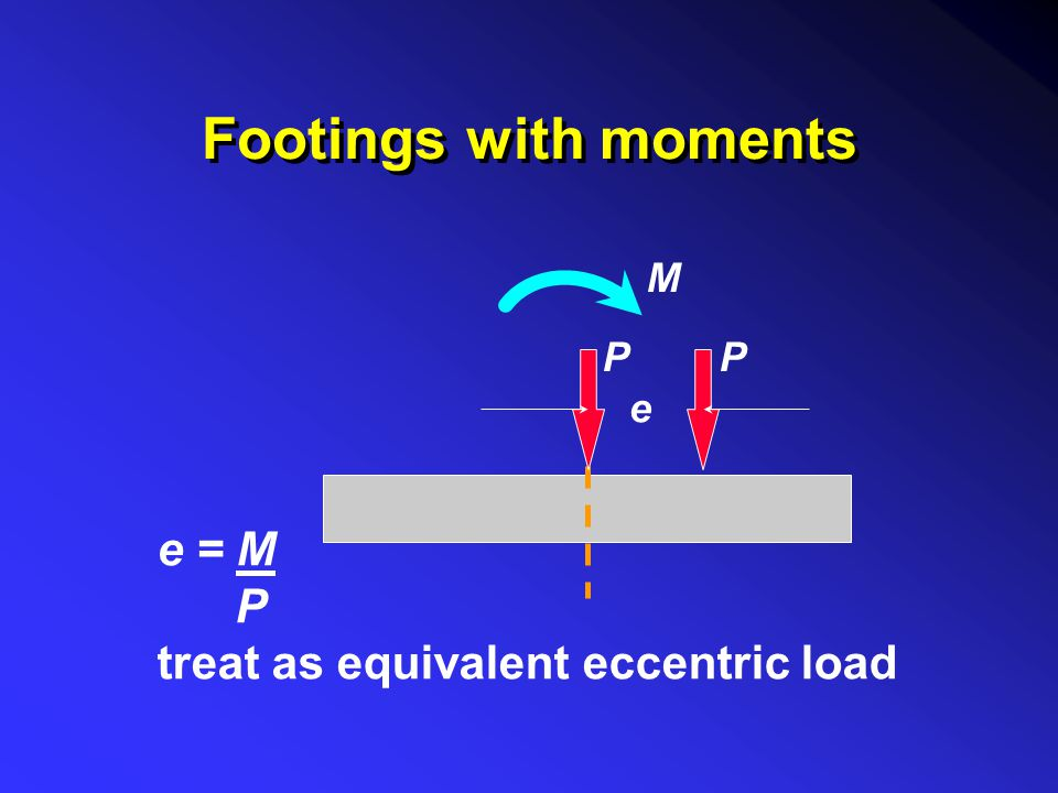 Footings with moments e = M P treat as equivalent eccentric load P M e