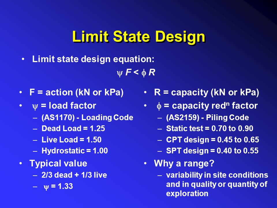 Limit State Design Limit state design equation: y F < f R