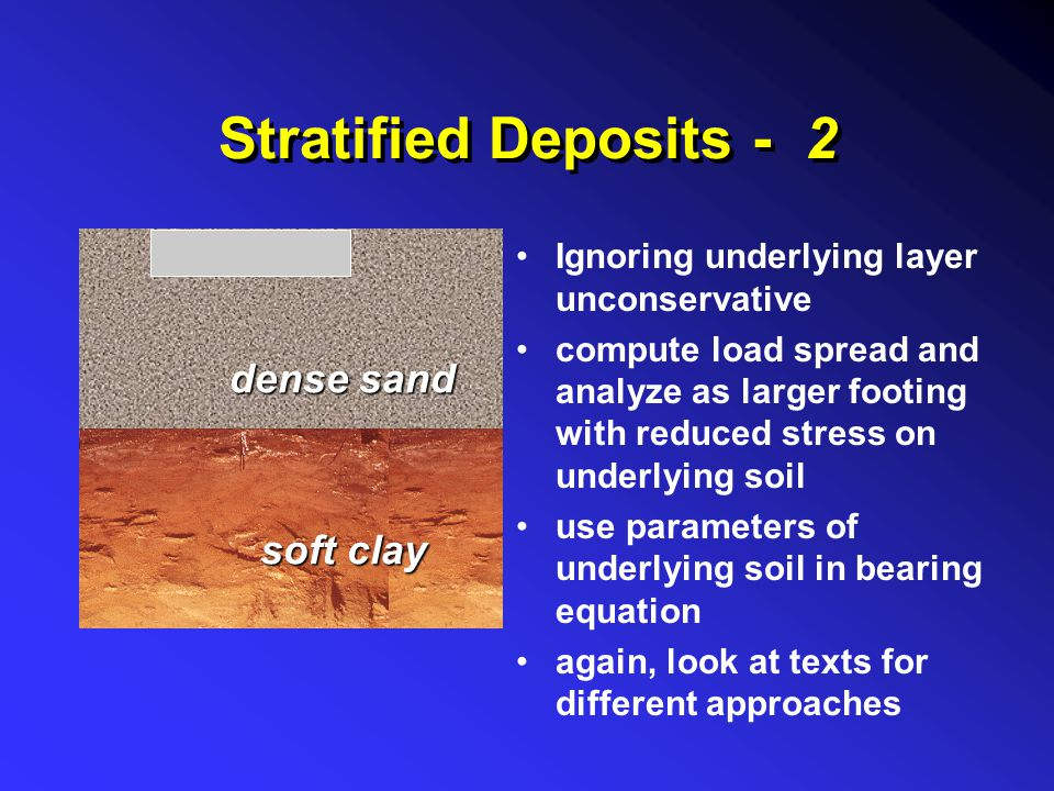 Stratified Deposits - 2 dense sand soft clay