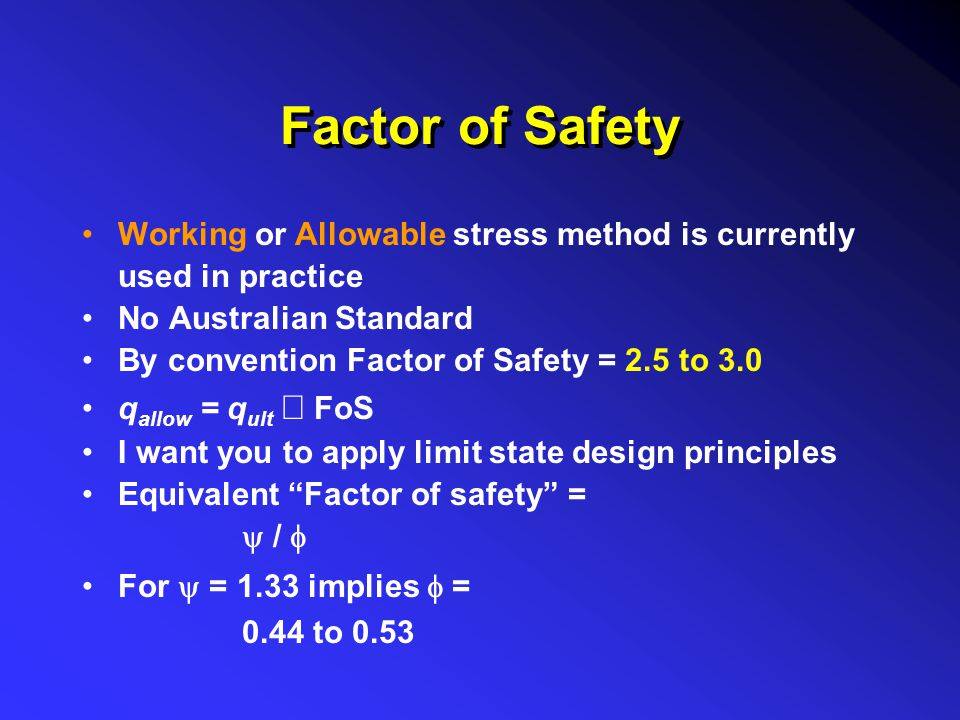 Factor of Safety Working or Allowable stress method is currently used in practice. No Australian Standard.