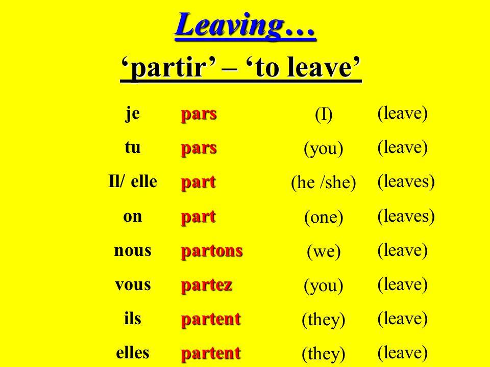 Leaving… 'partir' – 'to leave' je tu Il/ elle on nous vous ils elles