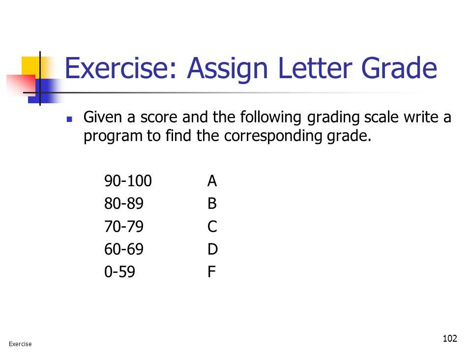 Exercise: Assign Letter Grade