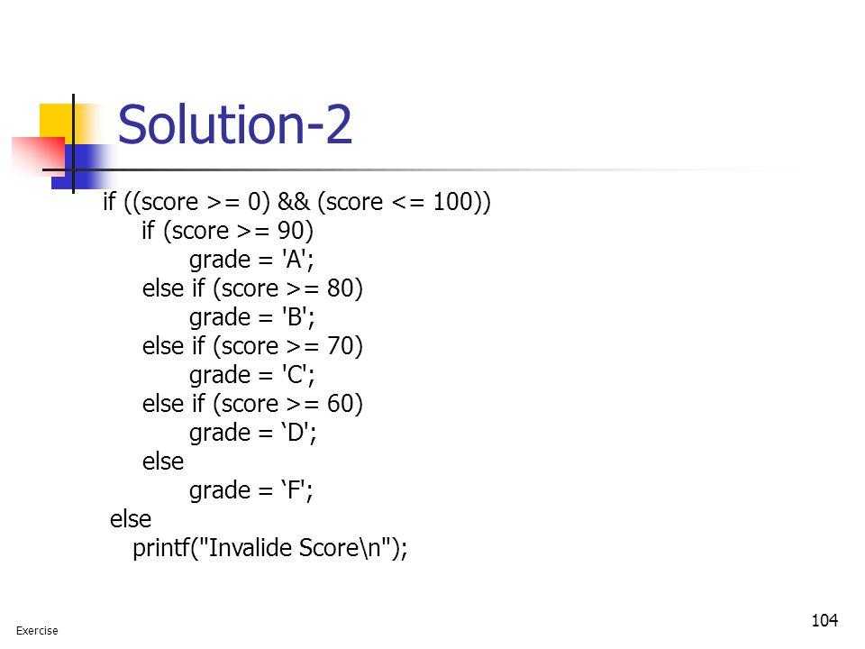 Solution-2 if ((score >= 0) && (score <= 100)) grade = A ;