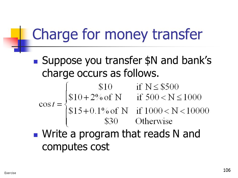 Charge for money transfer