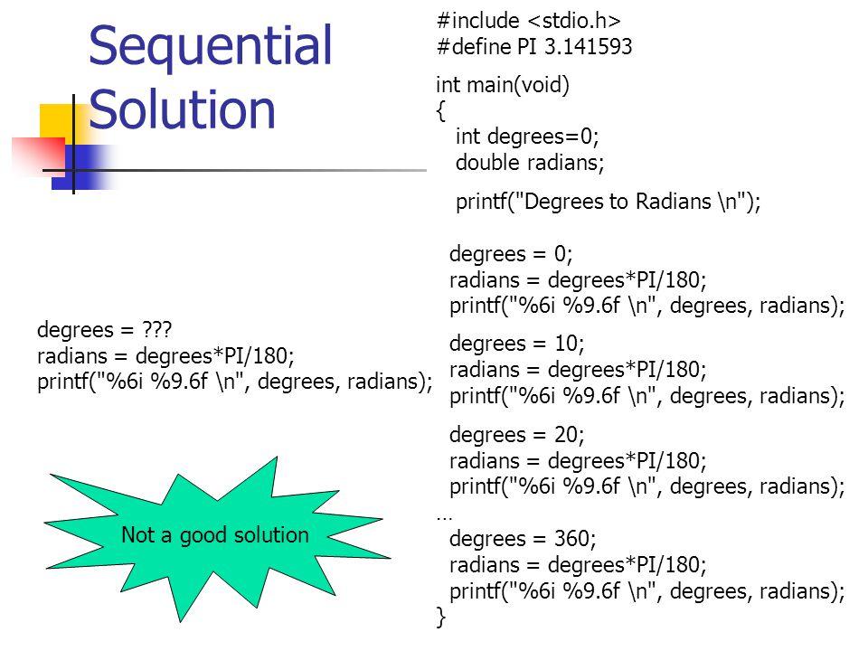 Sequential Solution #include <stdio.h> #define PI 3.141593