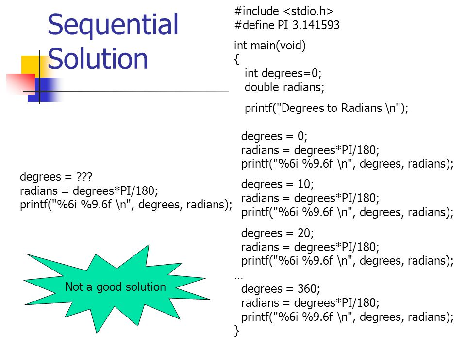Sequential Solution #include <stdio.h> #define PI