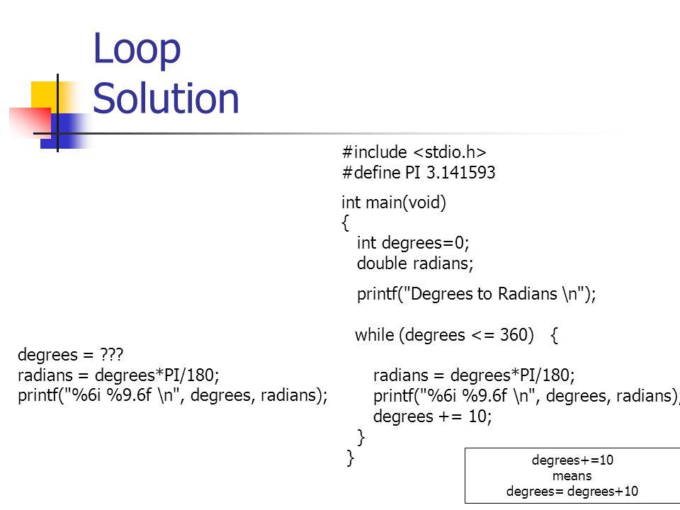 Loop Solution #include <stdio.h> #define PI 3.141593