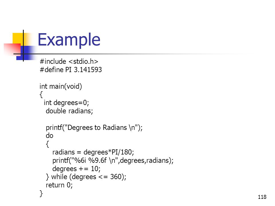 Example #include <stdio.h> #define PI 3.141593 int main(void) {