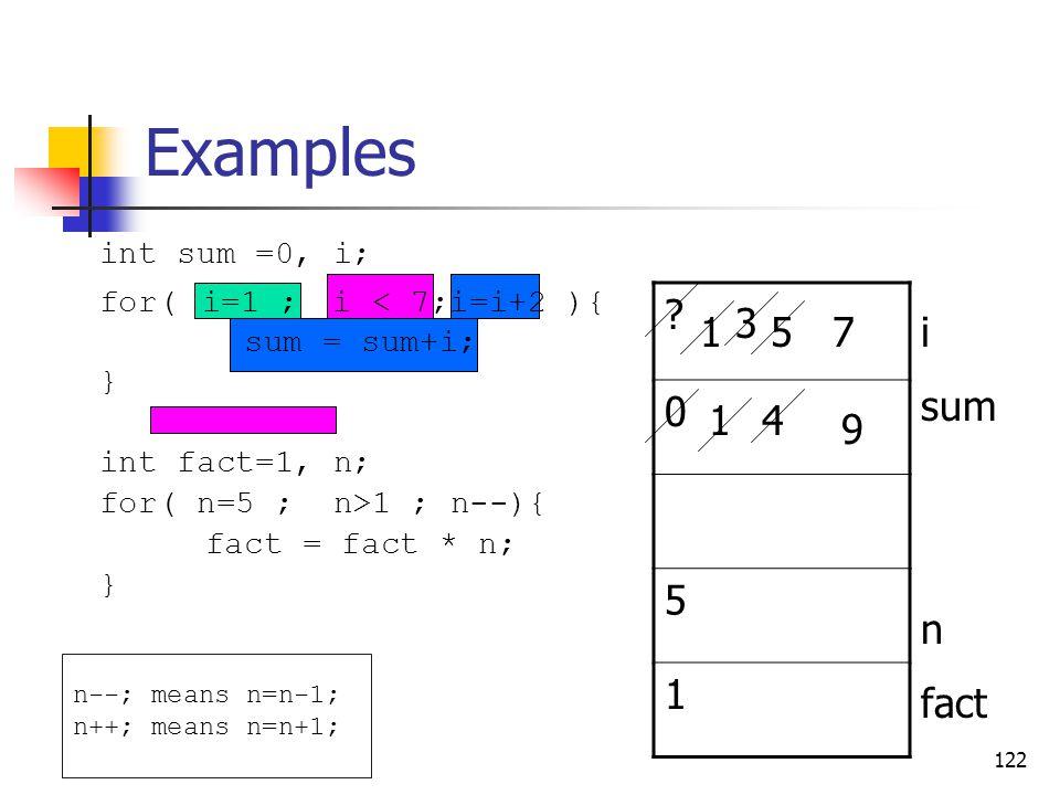 Examples 5 1 3 1 5 7 i sum n fact 1 4 9 int sum =0, i;