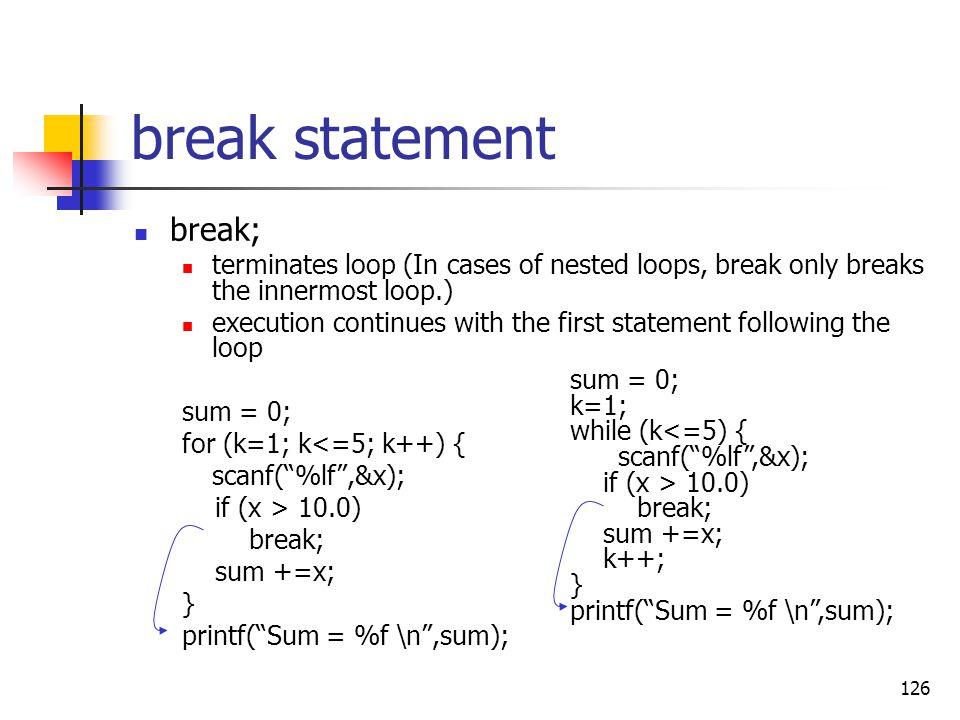 break statement break;