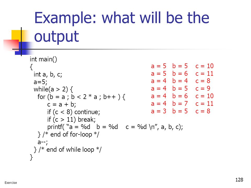 Example: what will be the output