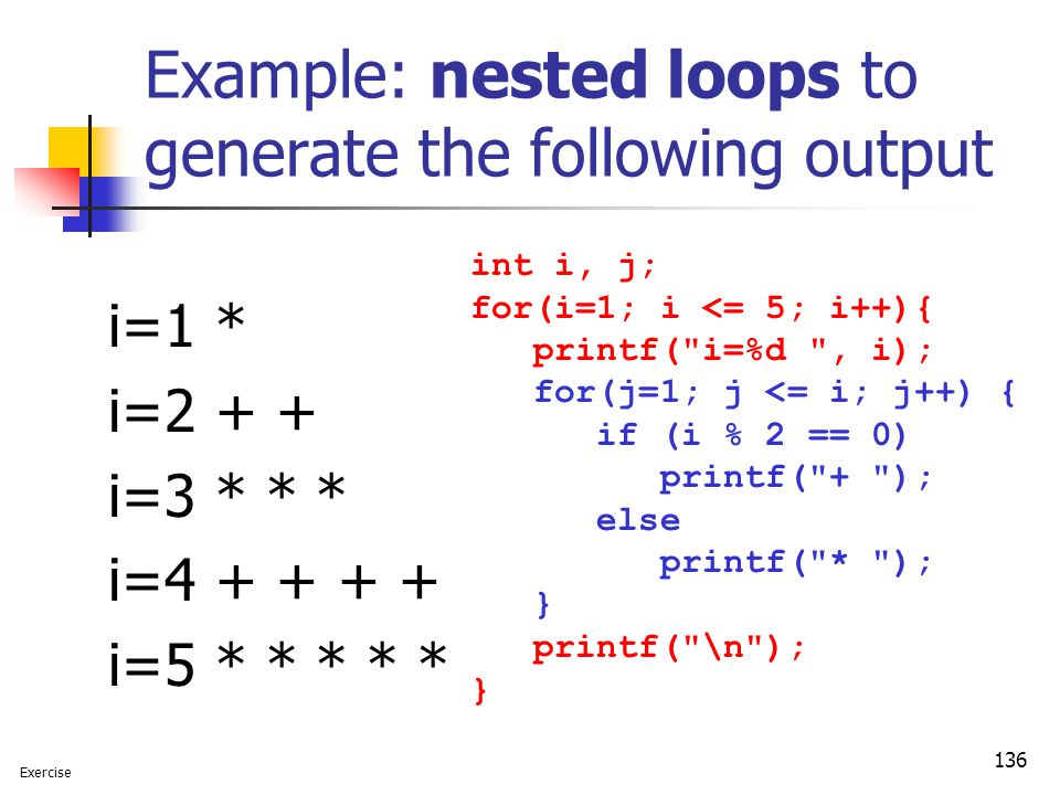 Example: nested loops to generate the following output