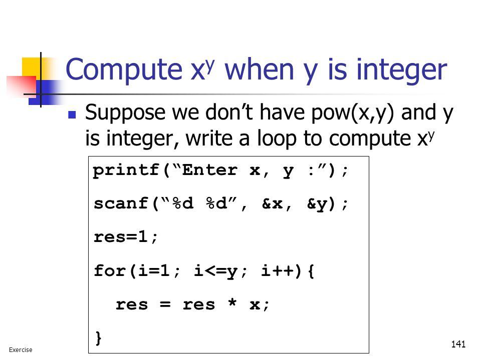 Compute xy when y is integer