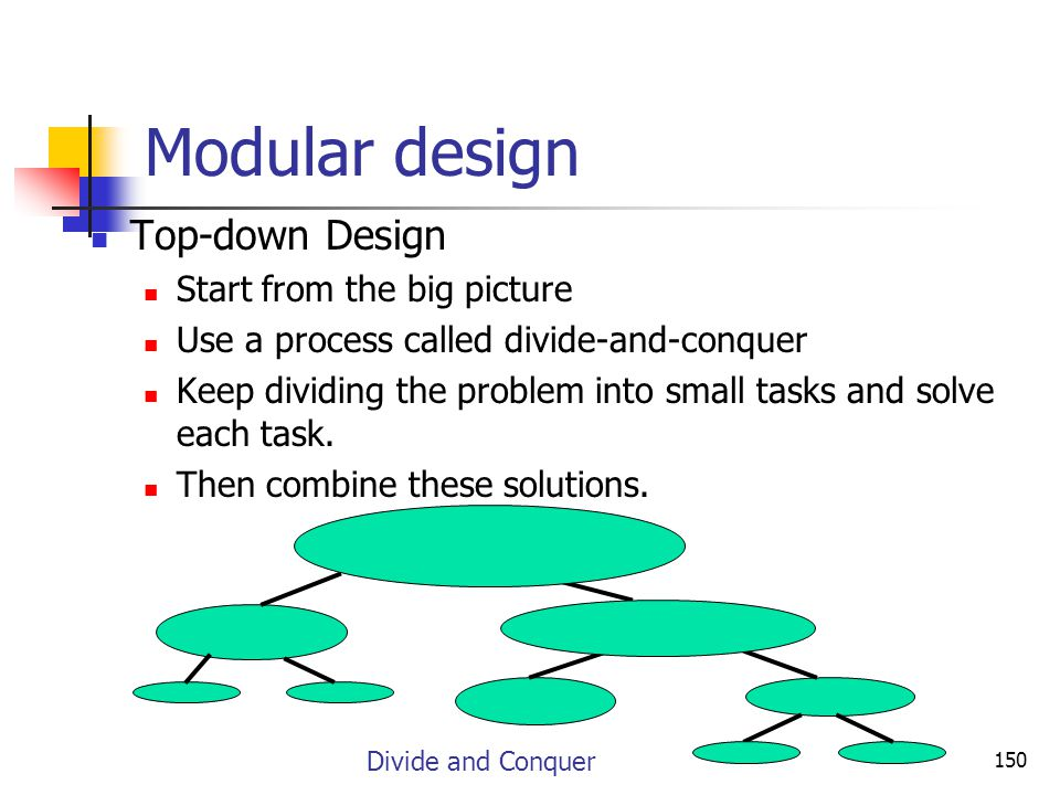 Modular design Top-down Design Start from the big picture