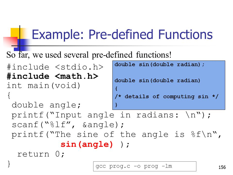 Example: Pre-defined Functions