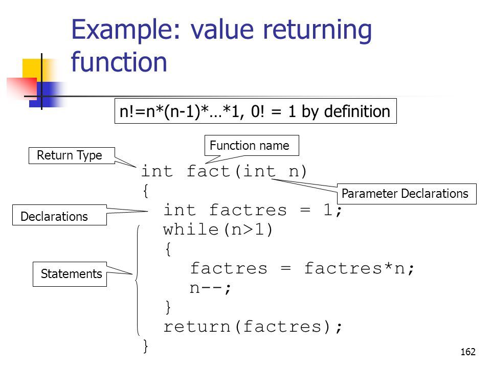 Example: value returning function