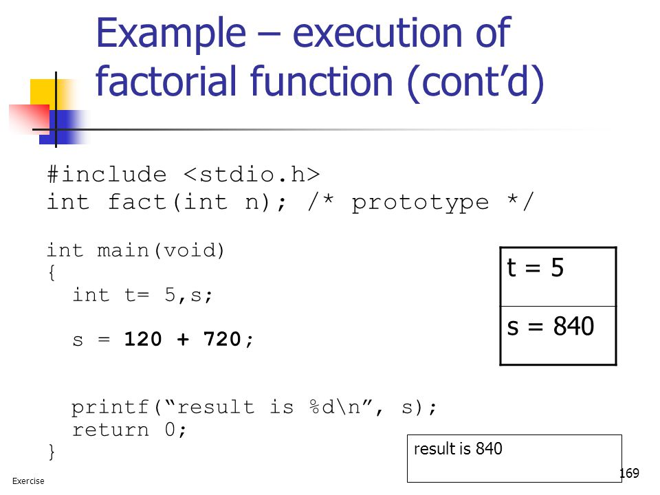 Example – execution of factorial function (cont'd)
