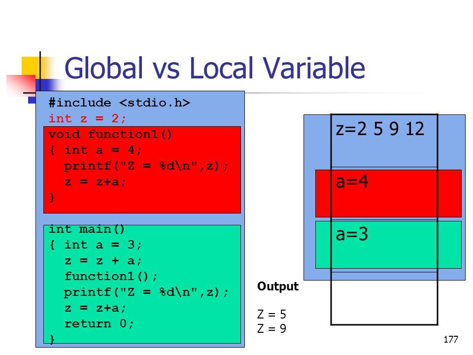 Global vs Local Variable