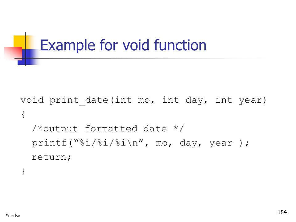 Example for void function