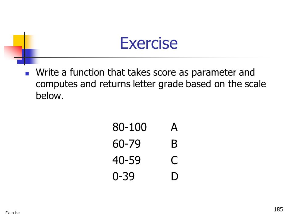 Exercise Write a function that takes score as parameter and computes and returns letter grade based on the scale below.