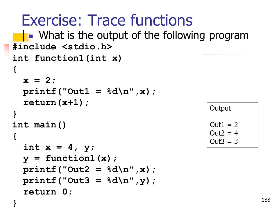 Exercise: Trace functions