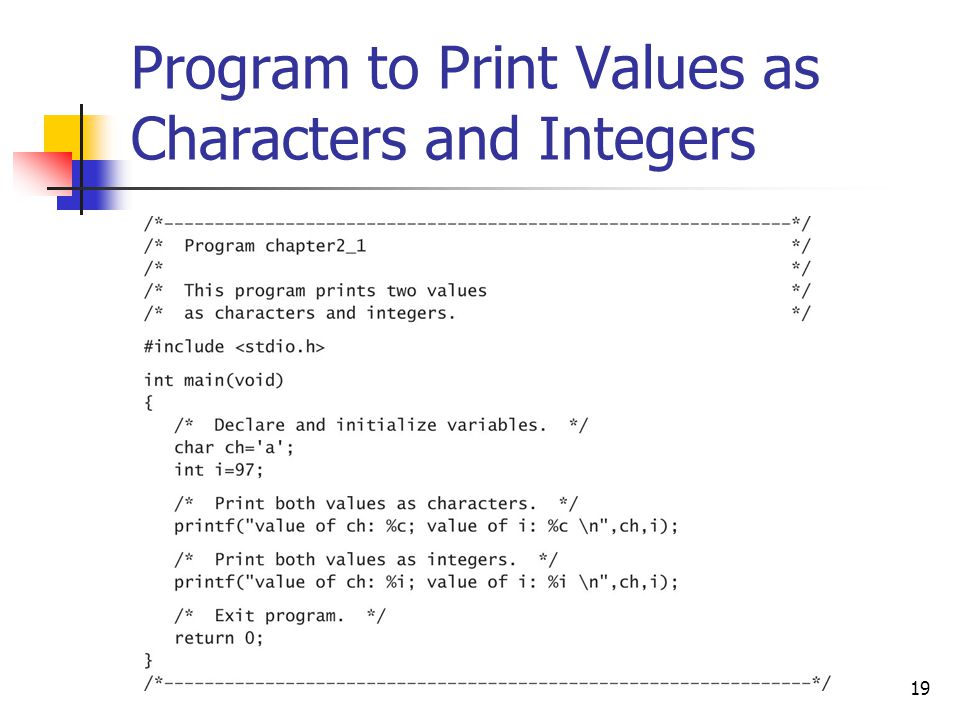 Program to Print Values as Characters and Integers