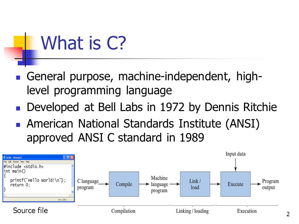 What is C General purpose, machine-independent, high-level programming language. Developed at Bell Labs in 1972 by Dennis Ritchie.