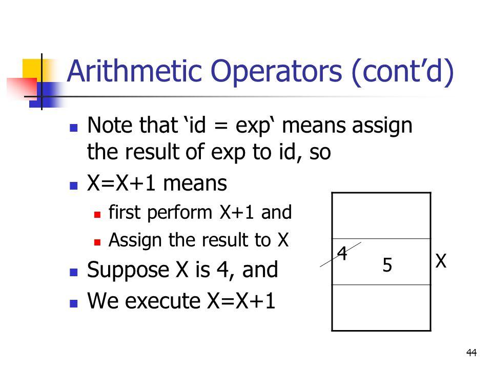 Arithmetic Operators (cont'd)