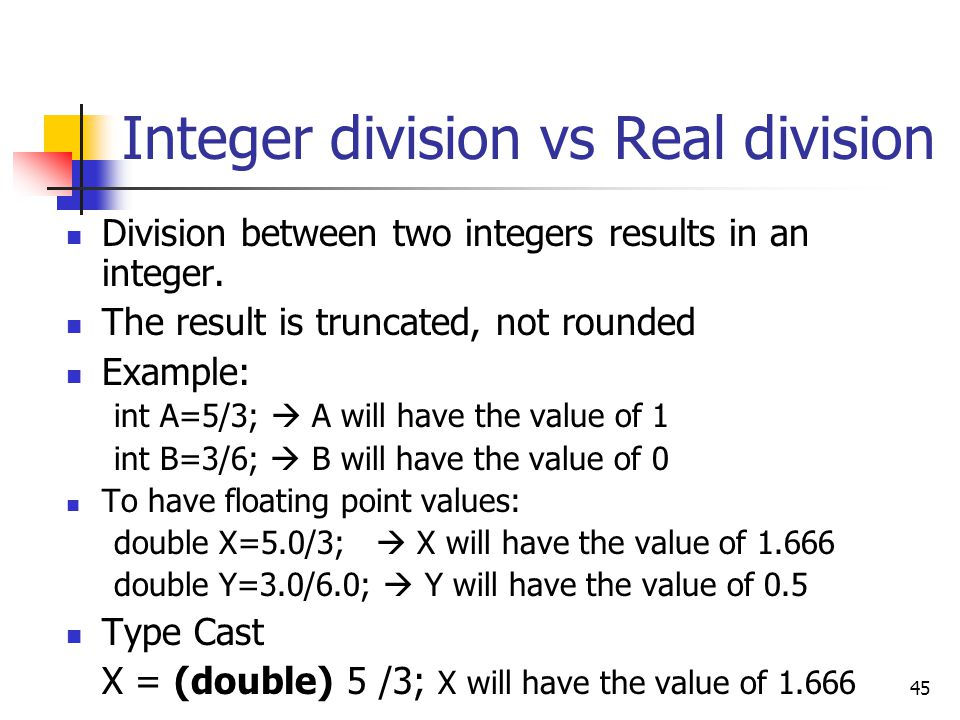 Integer division vs Real division
