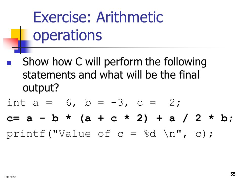 Exercise: Arithmetic operations
