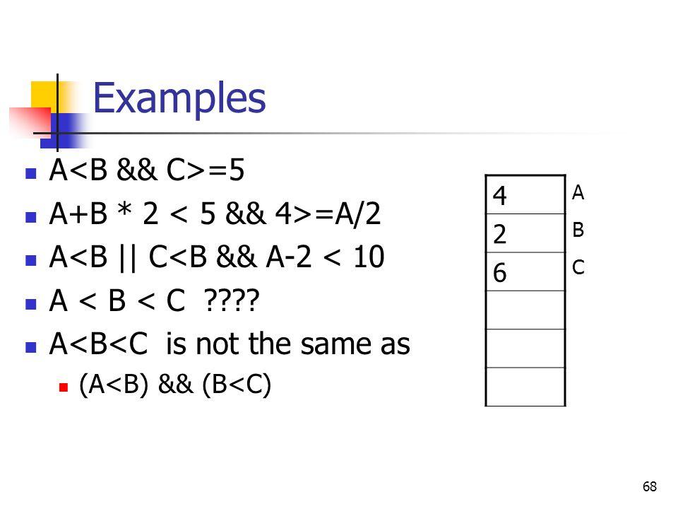 Examples A<B && C>=5 A+B * 2 < 5 && 4>=A/2
