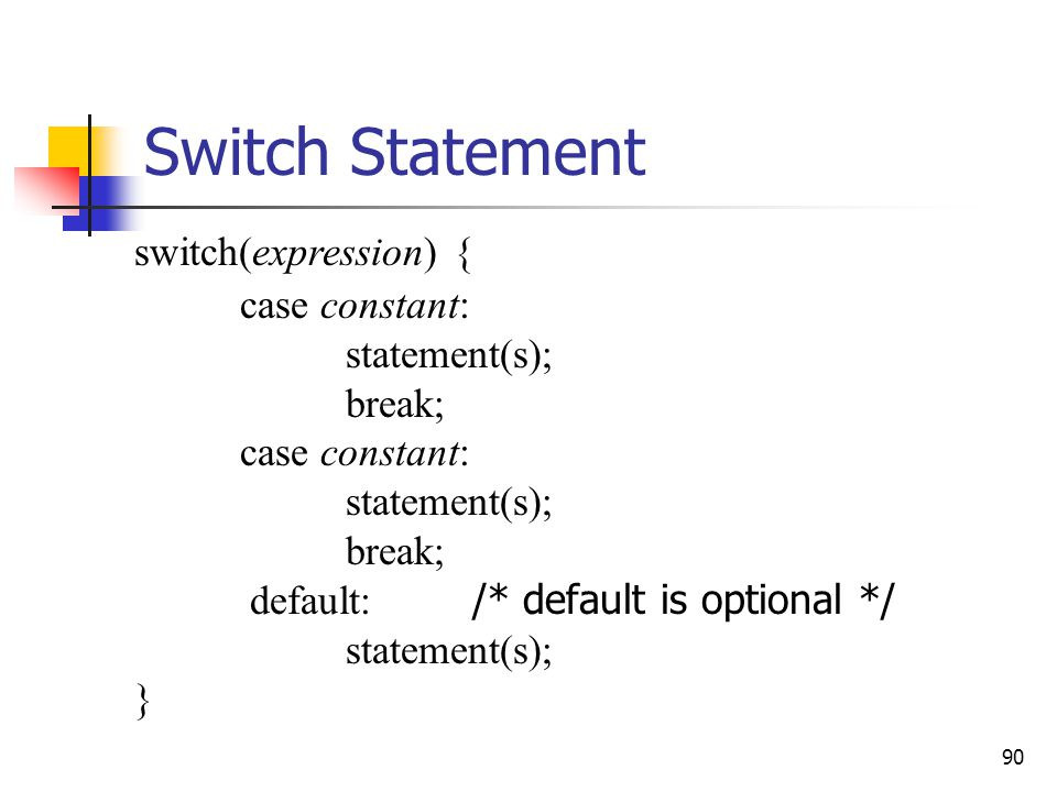 Switch Statement switch(expression) { case constant: statement(s);