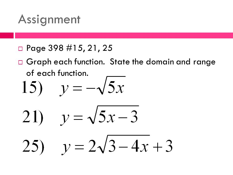 Assignment Page 398 #15, 21, 25 Graph each function. State the domain and range of each function.