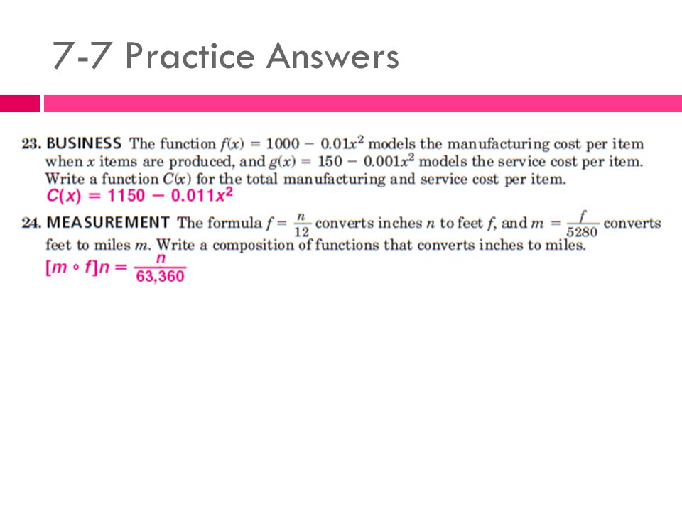 7-7 Practice Answers