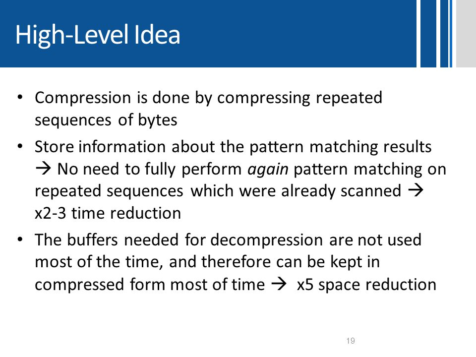 High-Level Idea Compression is done by compressing repeated sequences of bytes.