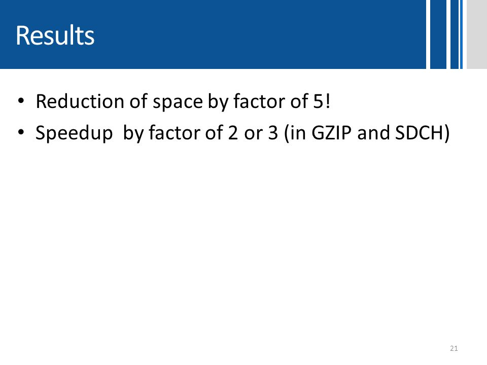 Results Reduction of space by factor of 5!