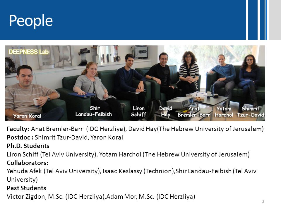 People Faculty: Anat Bremler-Barr (IDC Herzliya), David Hay(The Hebrew University of Jerusalem) Postdoc : Shimrit Tzur-David, Yaron Koral.