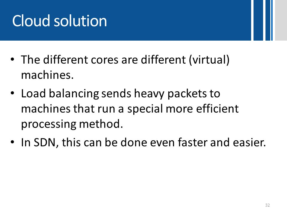 Cloud solution The different cores are different (virtual) machines.