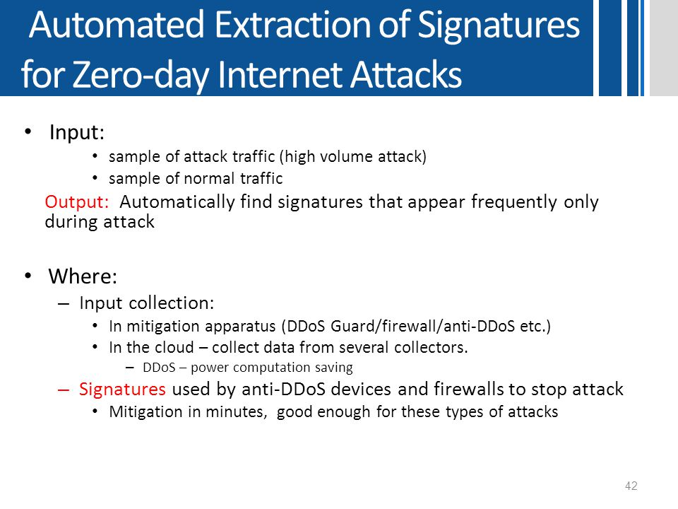 Automated Extraction of Signatures for Zero-day Internet Attacks