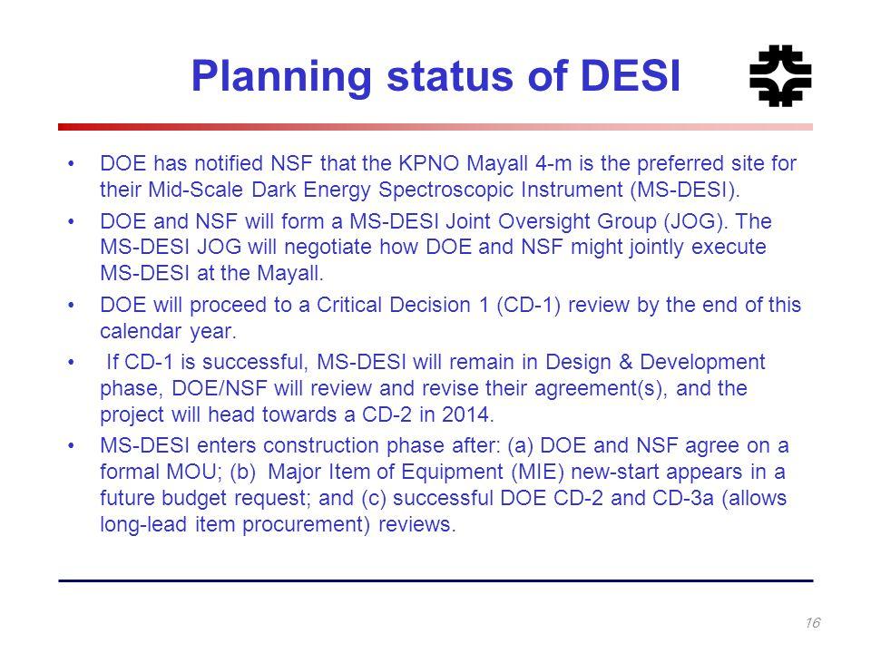 Planning status of DESI