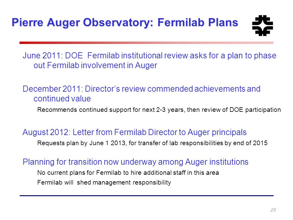 Pierre Auger Observatory: Fermilab Plans