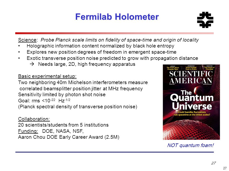 Fermilab Holometer Science: Probe Planck scale limits on fidelity of space-time and origin of locality.