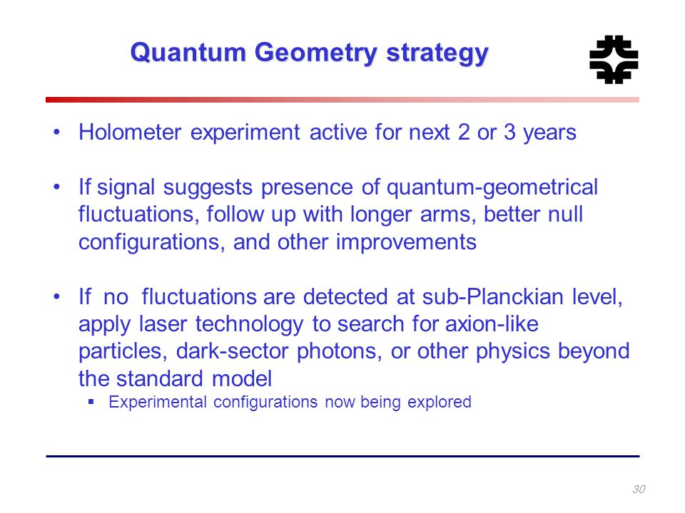 Quantum Geometry strategy