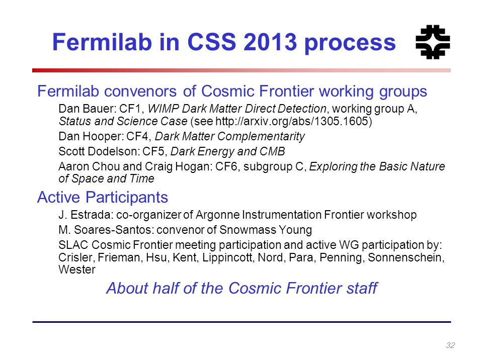 Fermilab in CSS 2013 process