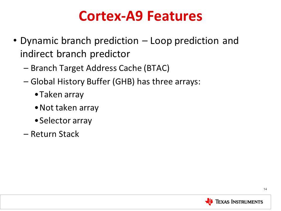 Cortex-A9 Features Dynamic branch prediction – Loop prediction and indirect branch predictor. Branch Target Address Cache (BTAC)
