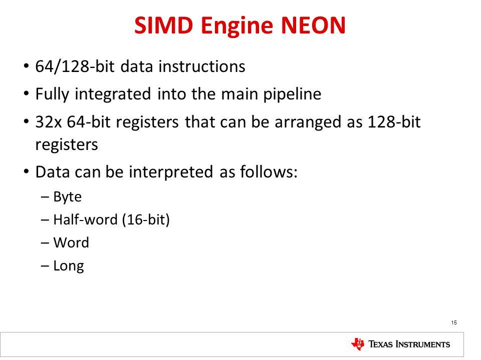 SIMD Engine NEON 64/128-bit data instructions